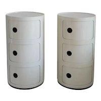 Pair of Italian White Plastic Modular Cabinet by Anna Castelli Ferrieri for Kartell, 1970s