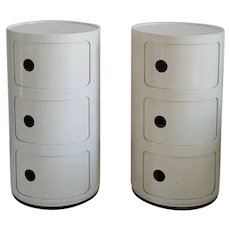 Pair of Italian White Plastic Modular Cabinet by Anna Castelli Ferrieri for Kartell, 1970s