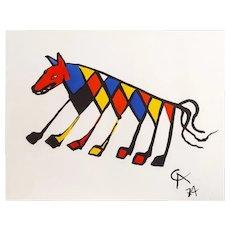 "Original Astonishing Alexander Calder ""Beastie""Limited Edition Print Lithograph 1974 (Braniff Airplines)"