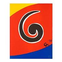 "Original Astonishing Alexander Calder ""Swirl"" Limited Edition Print Lithograph 1974 (Braniff Airplines)"