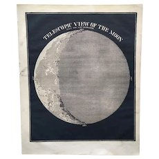 Astronomical print - Telescopic View of the Moon - 1853