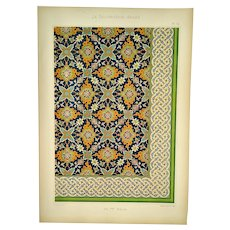 Arab Decoration -  Lithograph of Ceramic wall panel - 17th century - Tekyeh des Derwiches