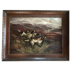 "Oil on canvas ""Dogs in a landscape"""""