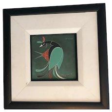 """Acrylic on card """"stylised bird"""""""