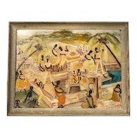 """""""Caribbean Marketplace"""" Oil on Board, by Uta von Bern"""
