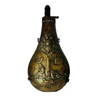 19th Century, Brass, Decorated, Powder Horn