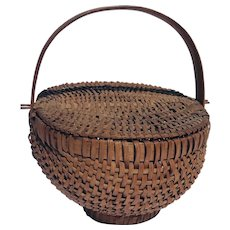 Double Lidded, Footed, Splint Woven Basket