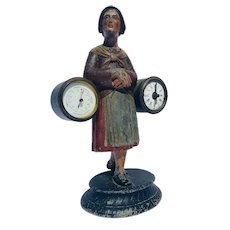 French, Cast Zinc, Maiden, Figural, Clock and Barometer