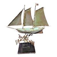 Copper, Schooner, Ship Weathervane, c. 1950