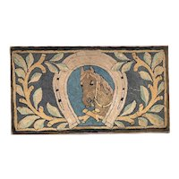 Horse and Shoe Hooked Rug, c. 1920