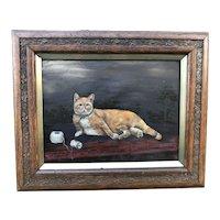 Oil on Canvas Portrait of a Cat, c. 1880