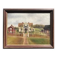 American, 19th C., Homestead, signed, Oil on Canvas.
