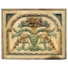 Carved and Painted Floral, Polychrome Panel, 19th c.