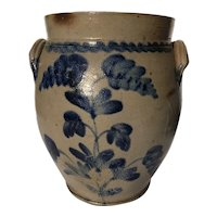 19th Century, Pennsylvania, Stoneware Decorated Crock