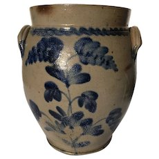 19th Century, Pennsylvania, Stoneware Decorated Crock