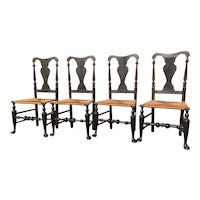 Original Set of Hudson Valley Queen Anne Side Chairs, Signed Jacob Smith