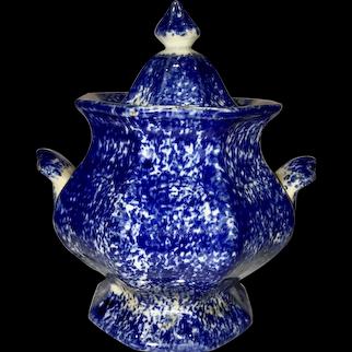 Blue. 19th c. Spongeware, Covered Sugar Bowl