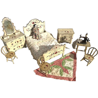 Original Set of Doll Painted Furniture, c. 1900