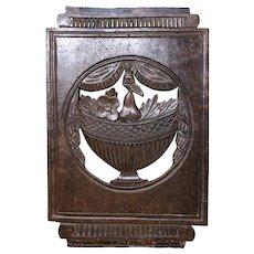 Still-life Carved in Walnut Chair Slat