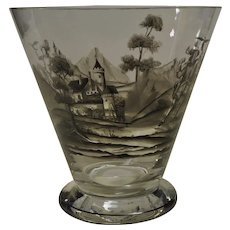 Bohemian, Grisaille Vase or Chill with a Falconer Motif