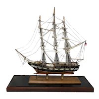 Mid 20th century Handcrafted Three Masted Ship Model