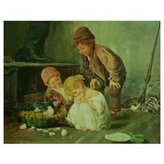 Children w/ Chicks by John Califano (1862-1946)