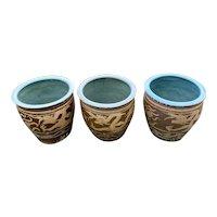 Set of Three Chinese Dragon Egg Pots