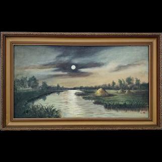 Painting of Native American Village, Michigan
