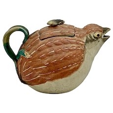 19th Century Japanese Banko Pottery Quail Teapot
