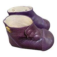 Hildegard Gunzel Eggplant Color Leather Doll Boots/Gotz