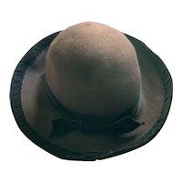 """J. Peterman Hat Chocolate Brown Wool/Felt Black Velvet Trim """"Store Only"""""""
