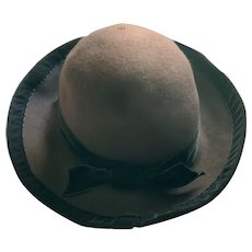 "J. Peterman Hat Chocolate Brown Wool/Felt Black Velvet Trim ""Store Only"""