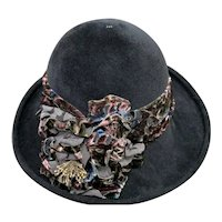 Louise Green Hat From The 1990's NWT Stunning Black/Multi Wool/Felt/Fur Patrice