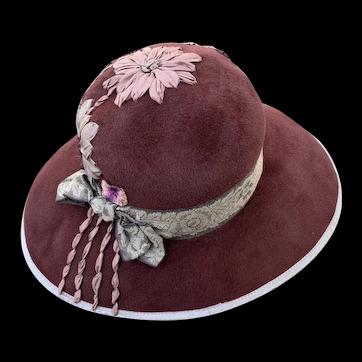 Louise Green Hat From The 1990's NWT Stunning Raisin Amy Wool/Felt/Fur