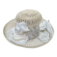 Louise Green Hat From The 1990's  Stunning Sisal W/Vanilla Silk Ribbon/Flowers