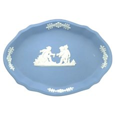 Vintage Wedgwood Jasperware Oval Pin Tray