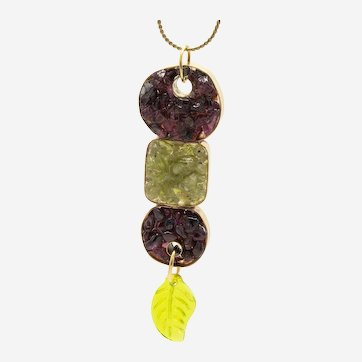 One of a Kind Brass Pendant with Genuine Peridot and Garnet