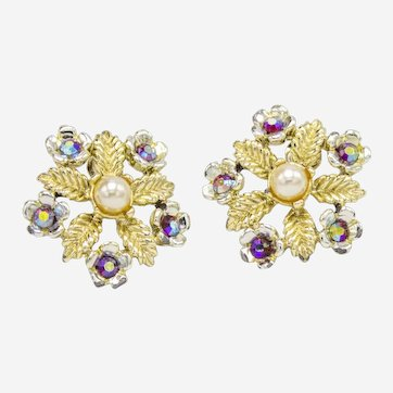 Vintage Gold Spring Snowflake Earrings-converted to pierced