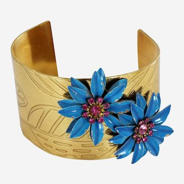One of a Kind Etched Brass Corsage Cuff-Vintage Assemblage