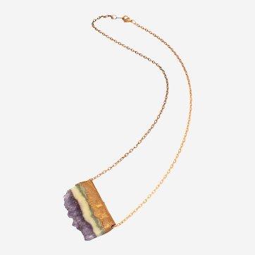 Copper Electroformed Amethyst Slice Pendant- One of a Kind Artisan Necklace