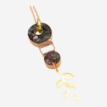 One of a Kind Natural Multi-colored Tourmaline and Copper Pendant with Brass Leaf