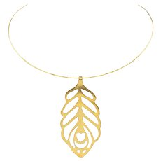 Hand-cut Brass Peacock Feather Pendant on Gold-plated Memory Wire Choker