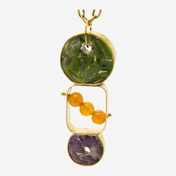 One of a Kind Brass Pendant with Genuine Amethyst and Chrome Diopside