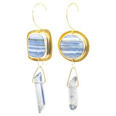 Mismatched Blue Lace Agate Fine Silver and Brass Earrings-One of a Kind