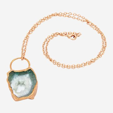 Copper Electroformed Crystal Slice Pendant- One of a Kind Artisan Necklace