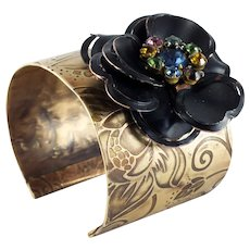 Artisan Etched Brass Corsage Wide Cuff-Vintage Assemblage-One of a Kind