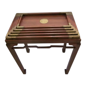 Set of Brass Mounted Chinese Trays on Stand