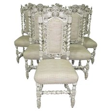 6 19thC Painted Italian Dining Room Chairs