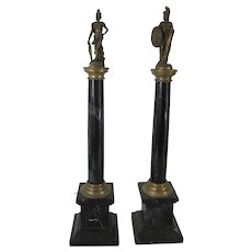 Pair of Marble and Bronze Grand Tour Columns.