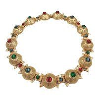 Andrew Spingarn N.Y Glass Cabochons 24k Gold Plate Collar Necklace